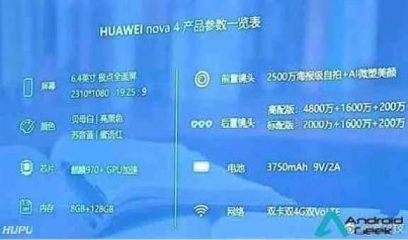 Huawei Nova 4 vê as suas especificações completas reveladas; 6,4 polegadas, Kirin 970, 8 GB de RAM e câmera de 48MP tripla 1