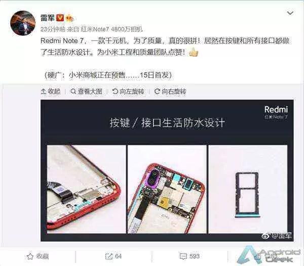 Os botões e portas do Redmi Note 7 são todos à prova d'água 3