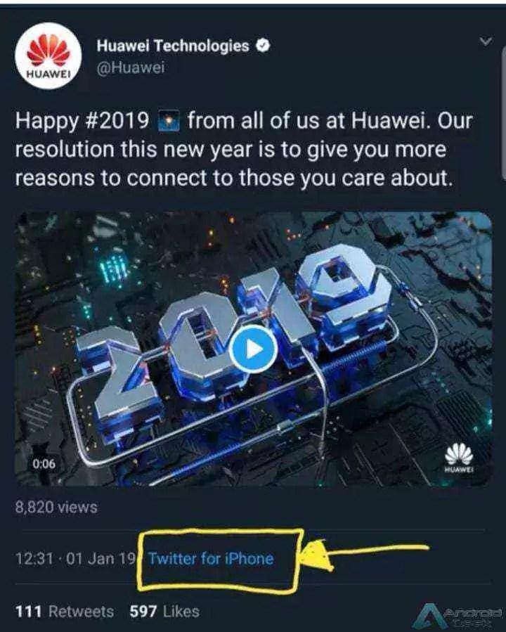 A Huawei deseja um bom 2019 a todos! A partir de um iPhone 1