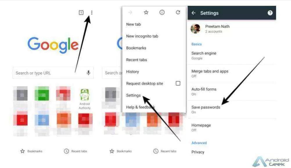 Como gerir as passwords guardadas no Chrome para Android 2