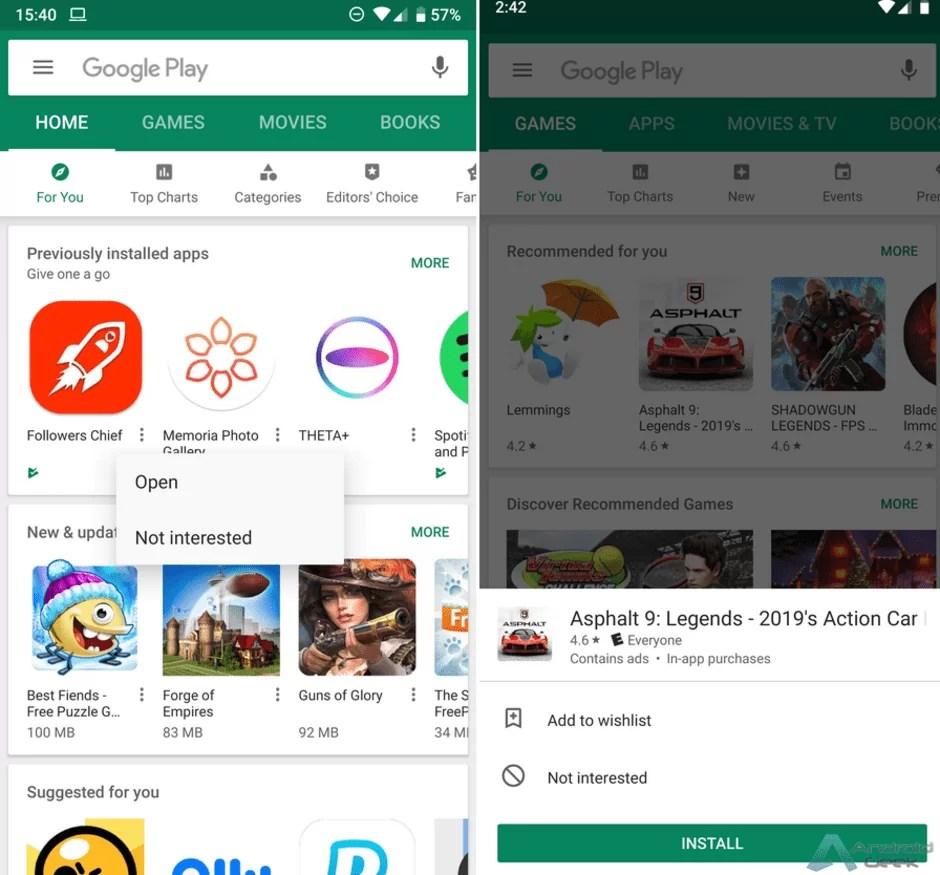 Google testa mais alterações para a interface do utilizador da Google Play Store 2