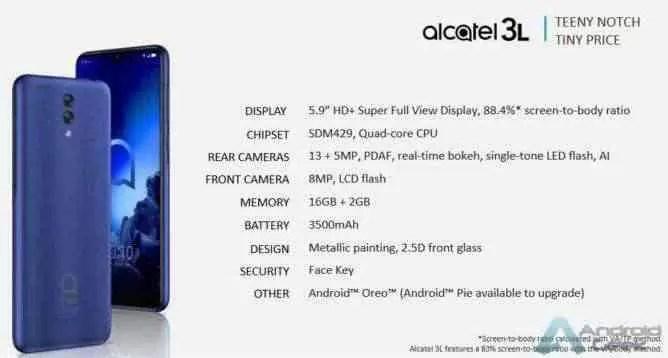 Linha de smartphones Alcatel 2019 revelada pelo suspeito do costume 3