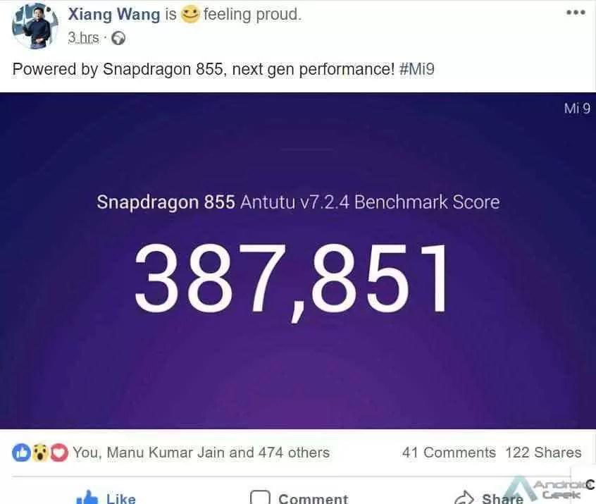 MONSTRO! Xiaomi Mi 9 faz mais de 380.000 no AnTuTu 1