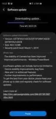 A actualização do Galaxy S10 de Março melhora a PowerShare sem fios e a estabilidade da câmara