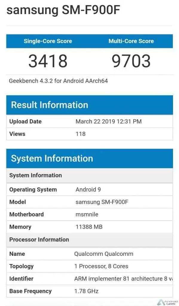 Galaxy Fold aparece com um desempenho medíocre no Geekbench 1