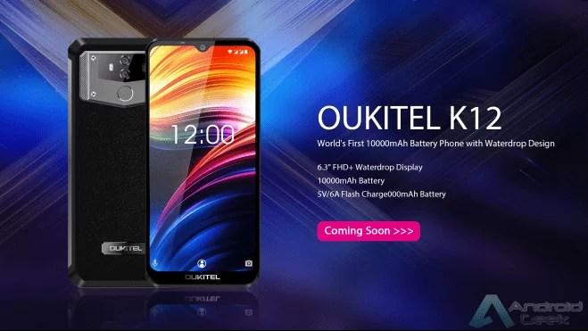 """A OUKITEL tem um novo smartphone Oukitel K12 com ecrã de 6,3 """"FHD + e bateria de 10000mAh 1"""