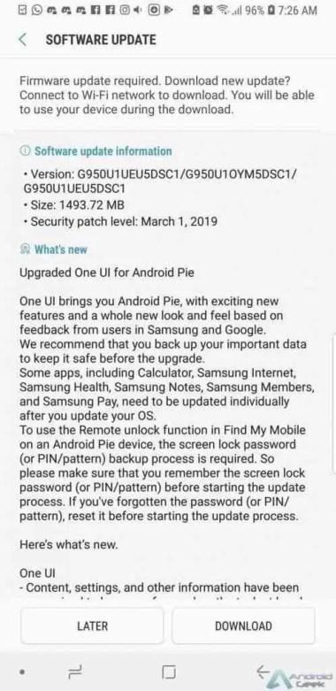 Samsung Galaxy Note 8, S8 e S8 + finalmente recebem actualização Android Pie nos EUA 2