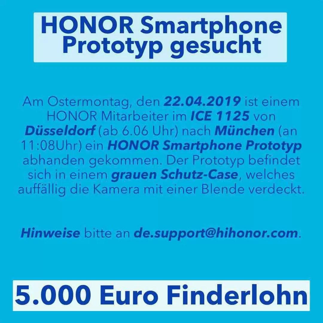 Honor Protótipo de smartphone perdido