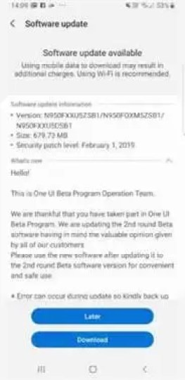Galaxy Note 8 Android Pie beta
