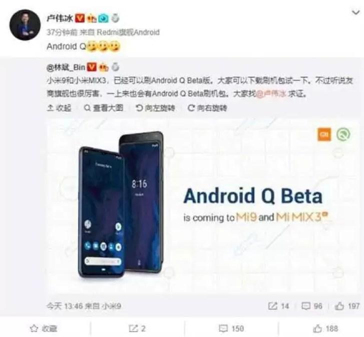 Flagship Xiaomi Redmi Snapdragon 855 será lançado com suporte Android Q beta 2