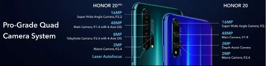 Honor câmaras de 20 séries