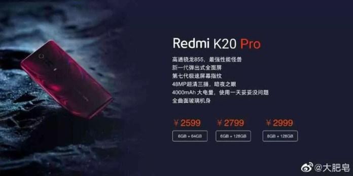 Redmi K20 Pro Preço Leak