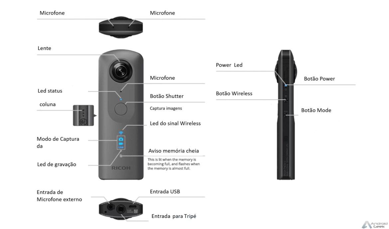 Análise Theta V a câmara 360 que podem levar para qualquer lado 4