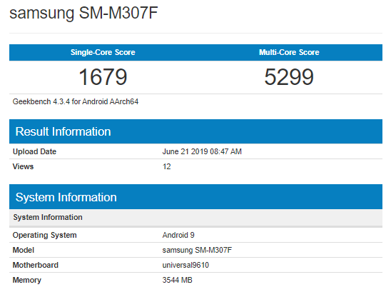 Galaxy M30s Geekbench