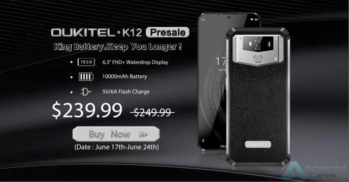 OUKITEL K12 com 10000mAh e carga rápida entra em pré-venda por US $ 239,99 1