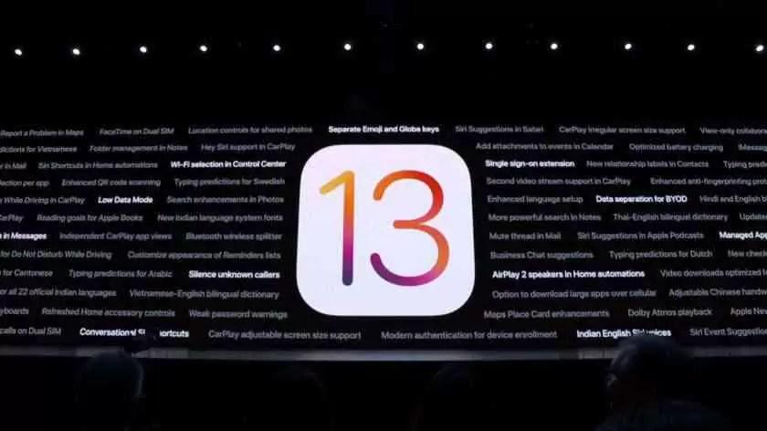 Apple WWDC 2019 na imagem do palco.