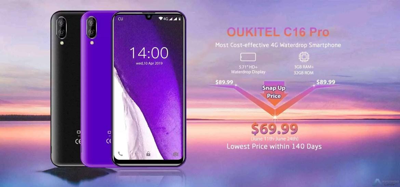 """OUKITEL C16 Pro com 5, 71 """"HD + Display e 3GB + 32GB entra em pré venda por US $ 69,99 2"""