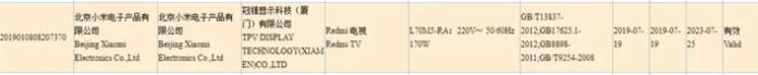 Certificado Redmi TV 3C