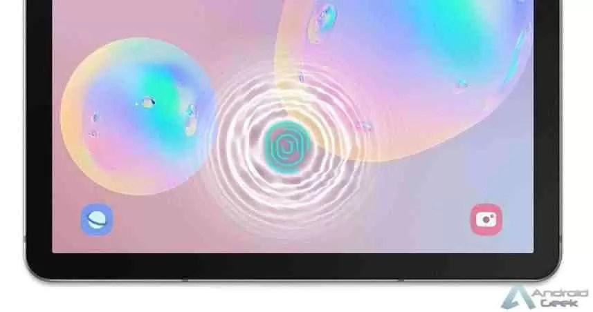 Scanner de impressão digital no visor do Galaxy Tab S6