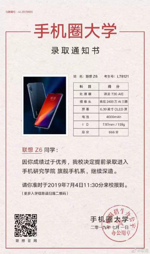 Cartaz da provocação da data de lançamento de Lenovo Z6