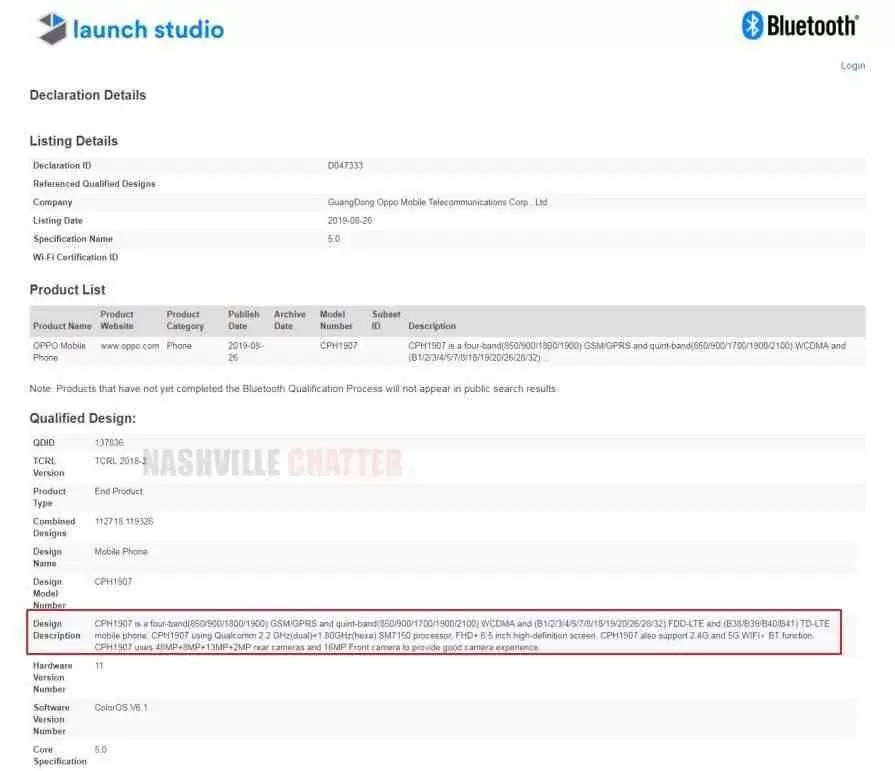 OPPO Reno2 (CPH1907) recebe certificação Bluetooth e revela principais especificações 2