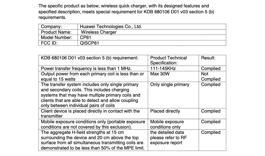 Carregador sem fio Huawei 30W FCC