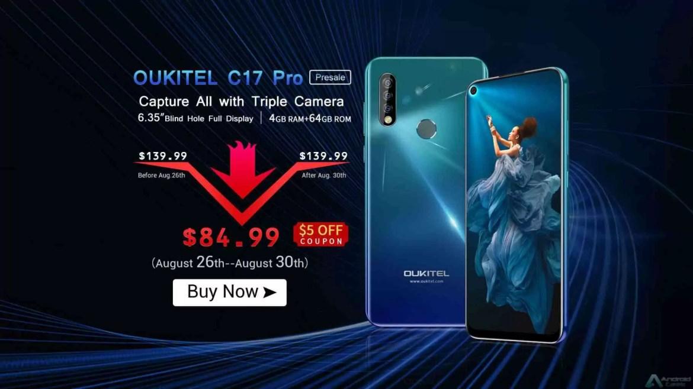 OUKITEL C17 Pro com câmara tripla e 4 GB + 64 GB de armazenamento entra em pré venda global por $ 84,99 3