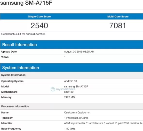 Galaxy A71 especificações