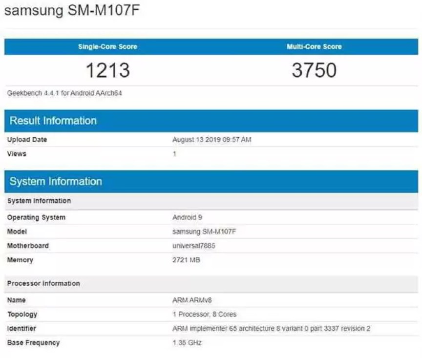 samsung galáxia m10s sm-m107f benchmark