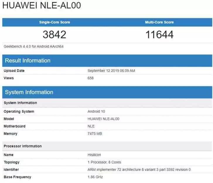 Um smartphone Huawei com Kirin 990 aparece no Geekbench