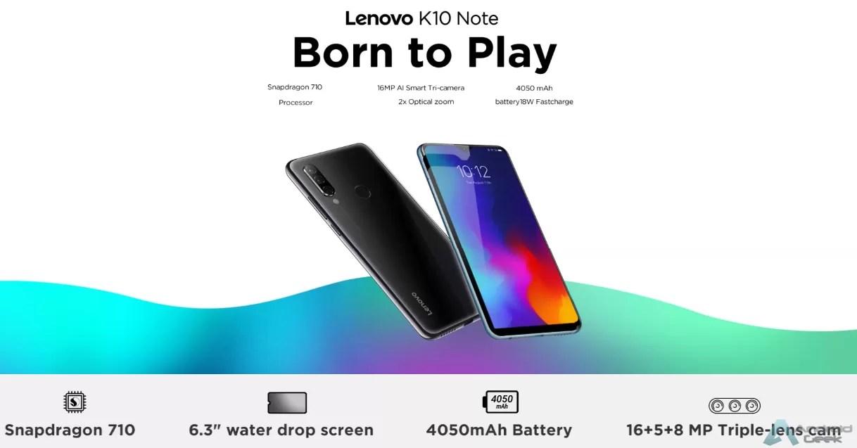 Recursos do Lenovo K10 Note