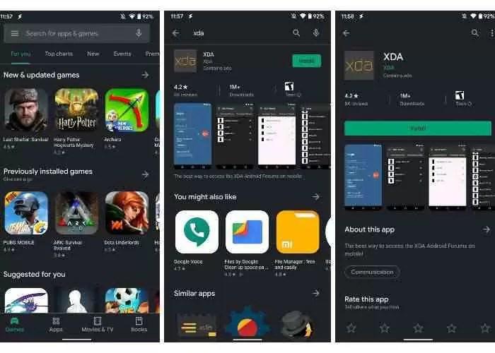 Modo escuro do Google Play