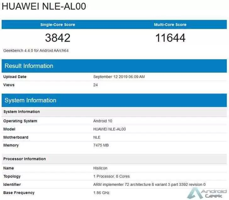 Huawei NLE-AL00 aparece no GeekBench com 8GB de RAM, Android 10 e Kirin 990 1