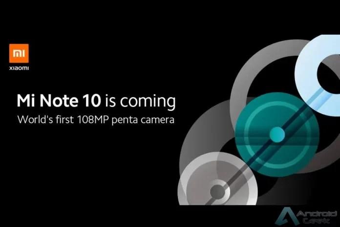 Configuração da câmara Penta do Mi Note 10 detalhada numa nova imagem renderizada 1