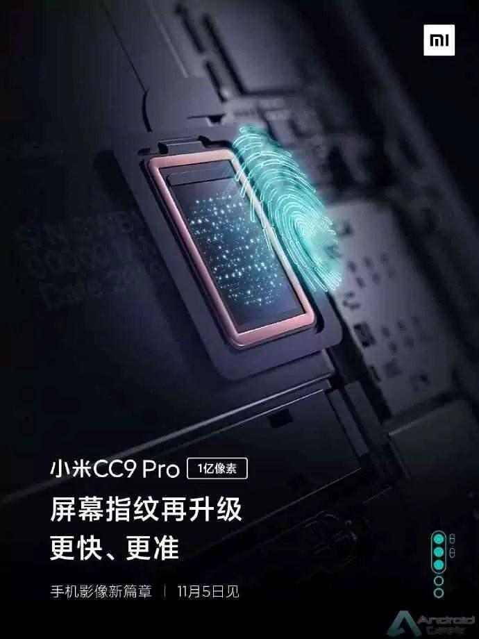 Xiaomi Mi CC9 Pro chega com um sensor de impressão digital avançado no ecrã 3