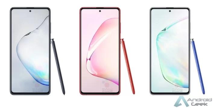 Galaxy Note10 Lite seduz em imagens construídas digitalmente nas cores Aura Black, Aura Red e Aura Glowpress 1