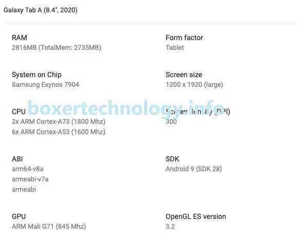 Galaxy Tab A 8.4 (2020) ficha técnica