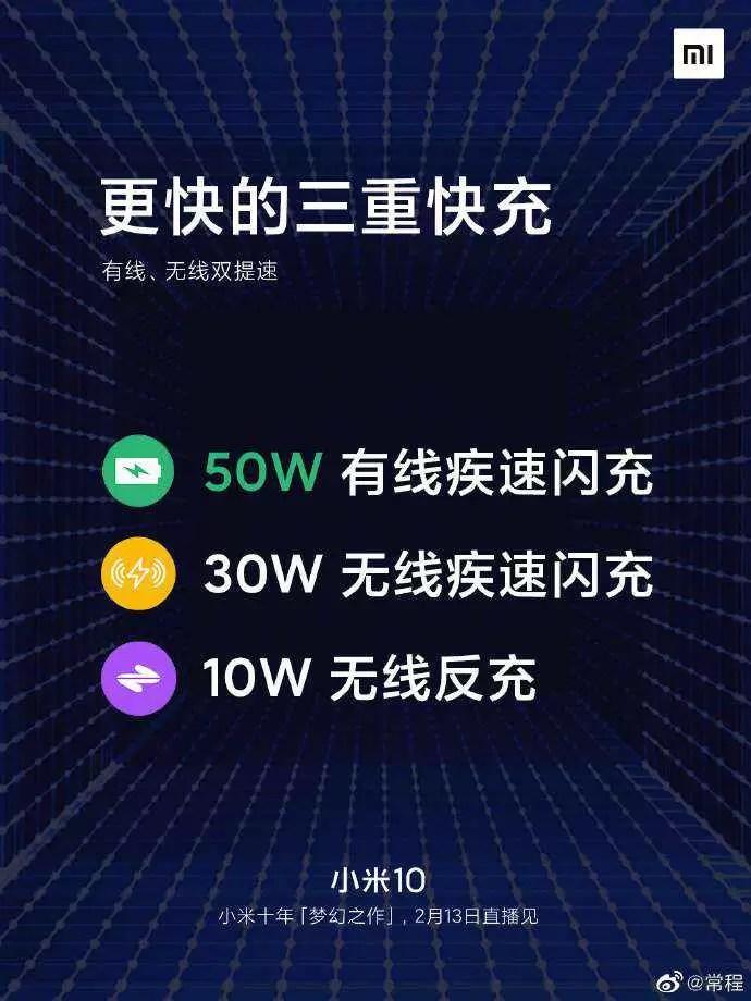 O Xiaomi Mi 10 possui uma bateria de 4.500mAh com carregamento rápido de 50W e carregamento sem fio de 30W 2