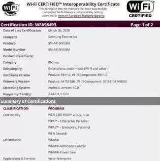 Samsung Galaxy A41 com certificação Wi-Fi e Bluetooth