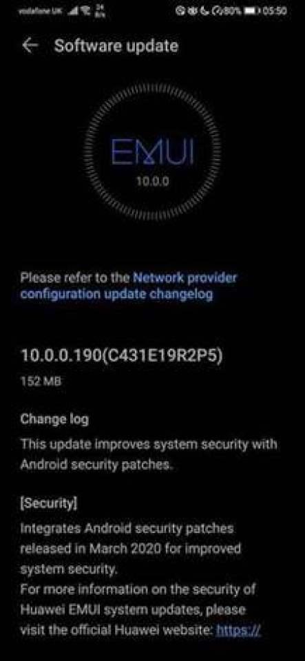 Huawei P30 e P30 Pro começam a receber a atualização de segurança EMUI de março no Reino Unido 1