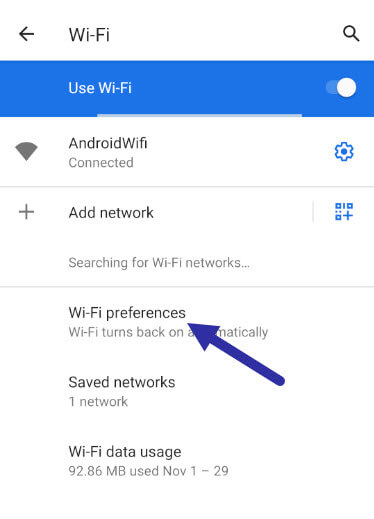 android wi fi preference 291120