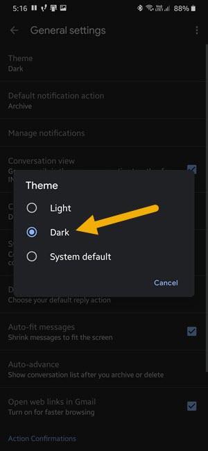 turn on gmail dark mode 311220