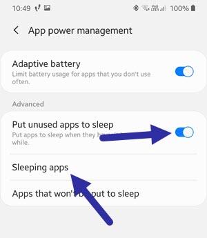 turn on put unused apps to sleep on samsung
