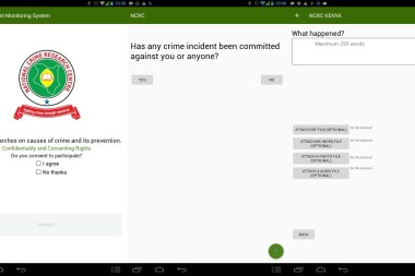 National Crime Research Centre app screen grabs