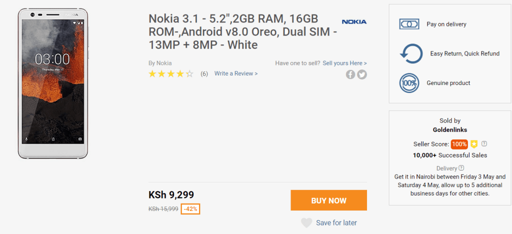 Nokia 3.1 Jumia deal