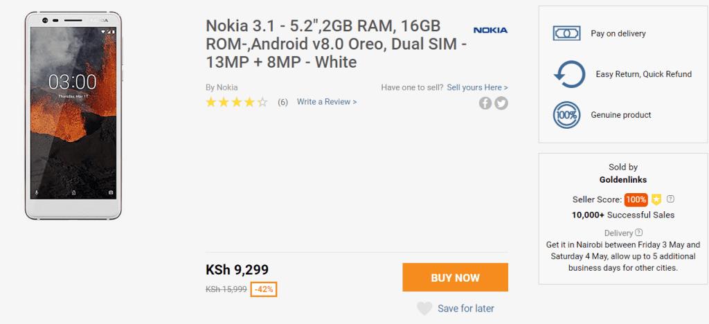 Nokia 3.1 Jumia deal