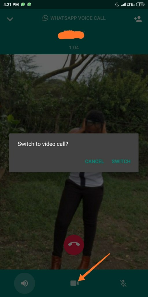 WhatsApp audio call to video call