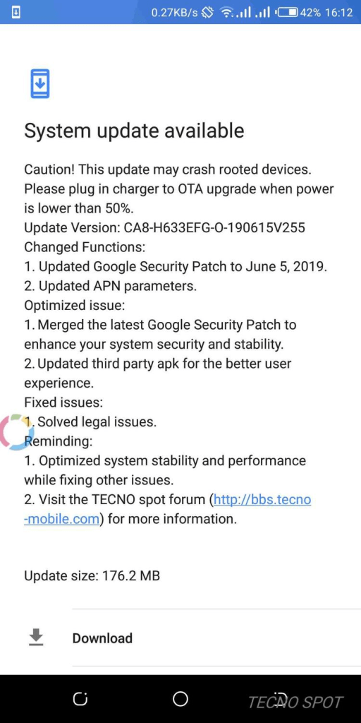 Tecno Camon X Pro June 2019 update