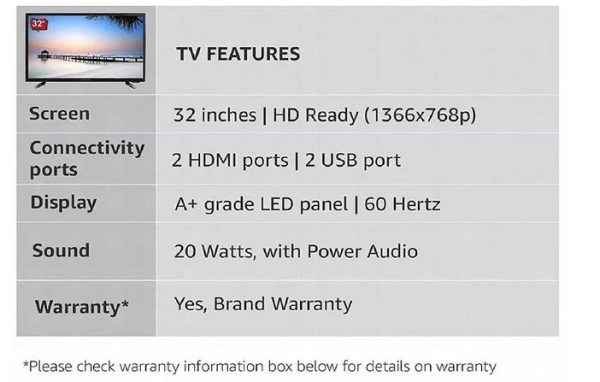 Kevin 32 Inches HD Ready LED TV port
