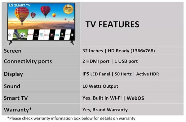 LG 80 cms (32 Inches) HD Ready LED Smart TV 32LM560BPTC Specifications & Features २०१९-20